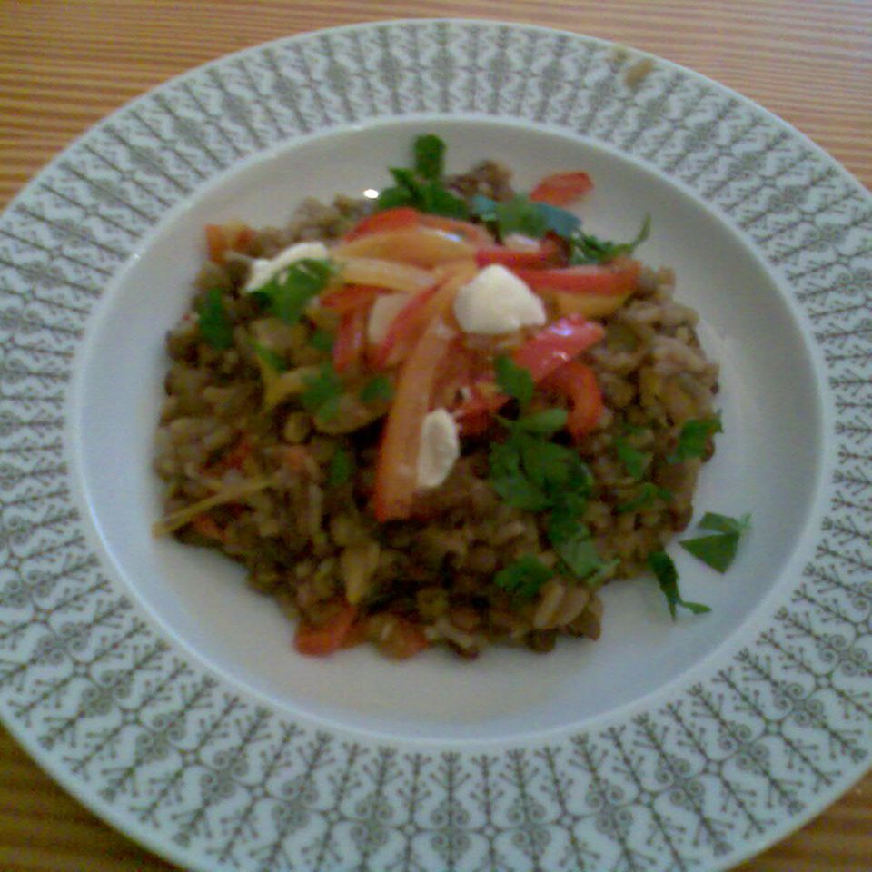 Linsen mit Reis und Gemüse