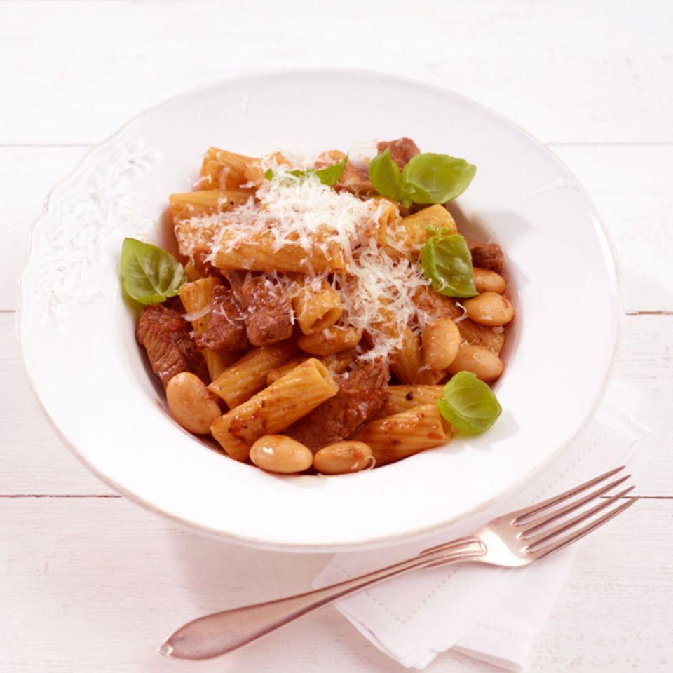 Rindfleisch-Bohnen-Pasta