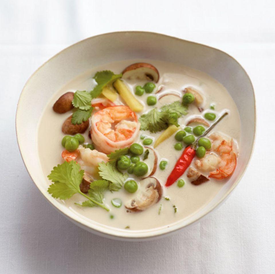 Kokossuppe mit Garnelen