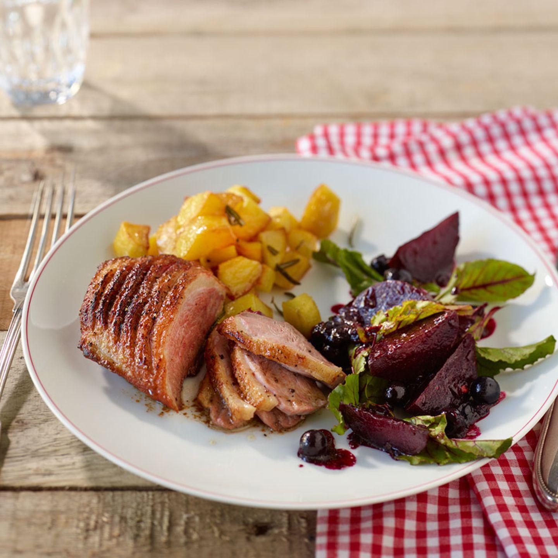 Entenbrust mit Rote-Bete-Salat