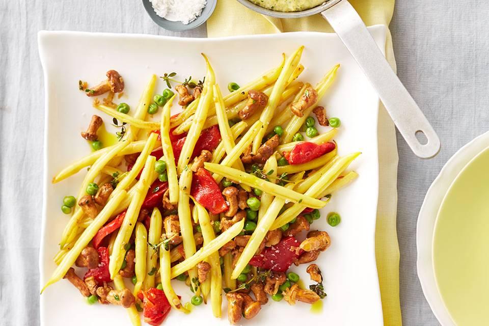 Wachsbohnen-Pfifferling-Gemüse mit Polenta Rezept