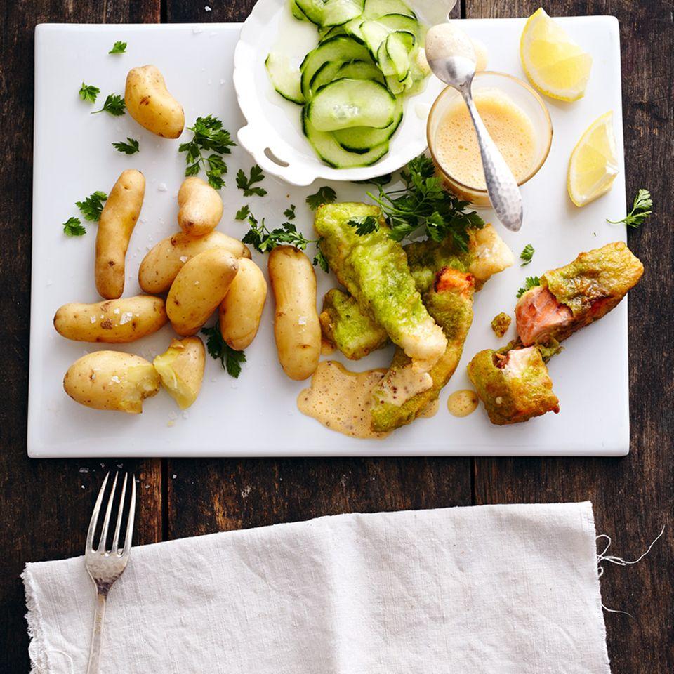 Gebackener Pannfisch mit Senf-Hollandaise