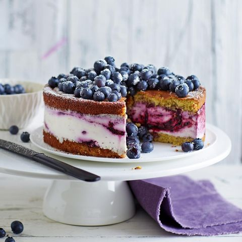 Quark-Sahne-Blaubeer-Torte