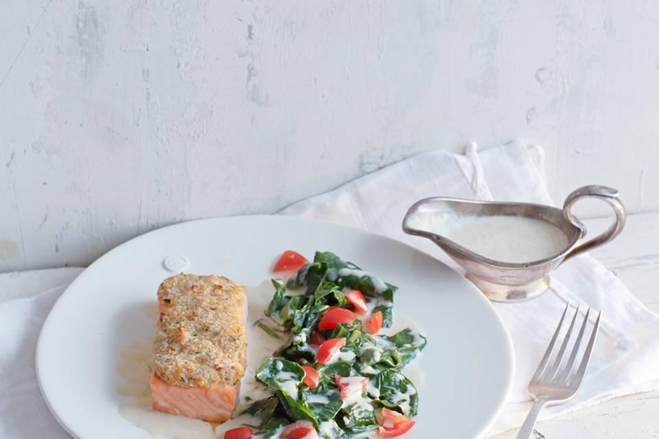 Überbackener Lachs mit Essigsauce und Spinat Rezept