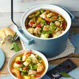 Fisch-Pot-au-feu mit Garnelen und Safran