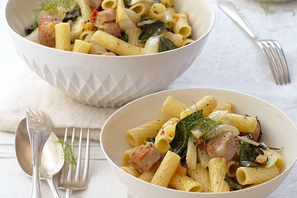 Tortiglioni mit Salsiccia und Mangold Rezept