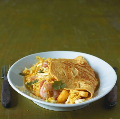 Garnelen-Ananas-Omelett