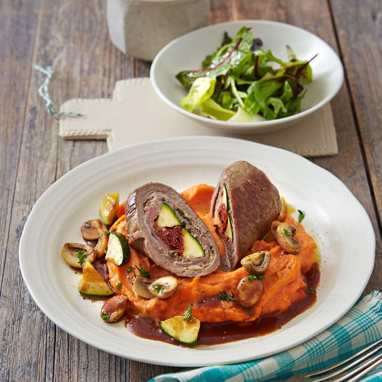 Kalbsroulade mit Paprika-Kartoffel-Püree