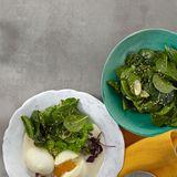 Wasabi-Eier mit Erbsenstampf