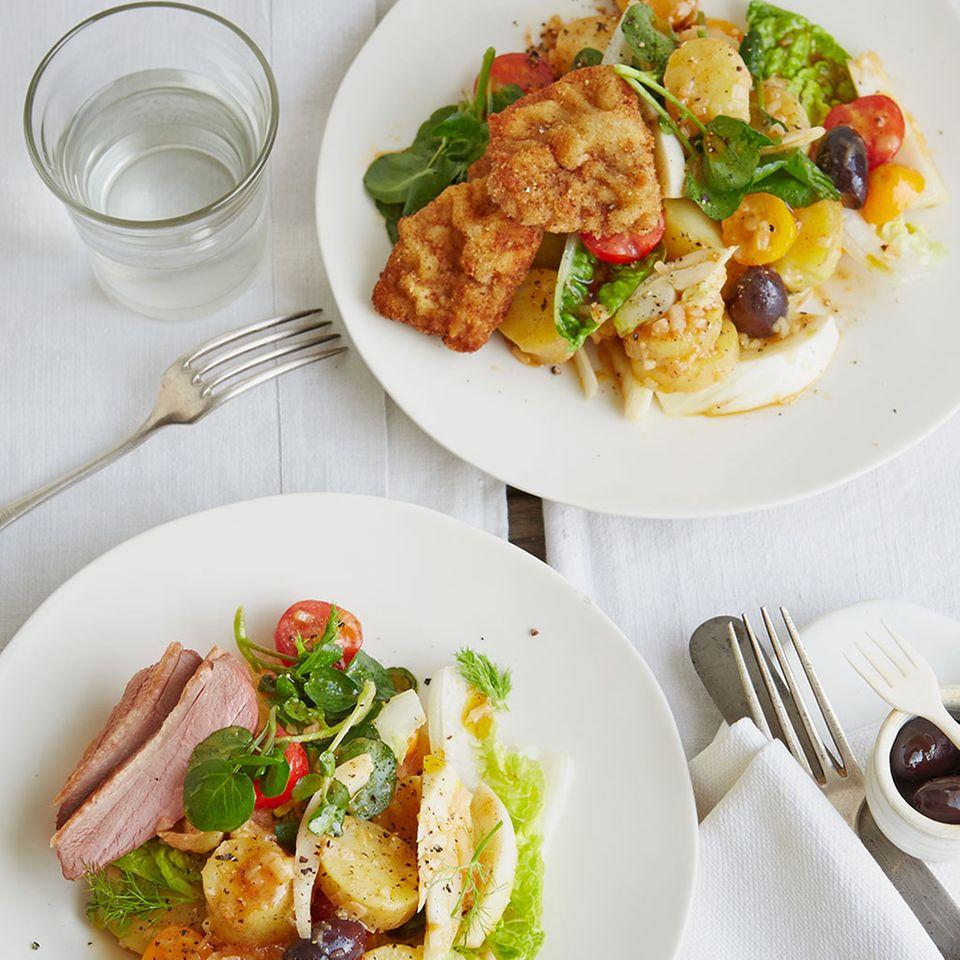 Mittelmeersalat mit Kartoffeln und Tomaten