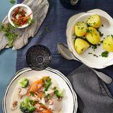 Hühnerfrikassee mit Krabben und Gemüse