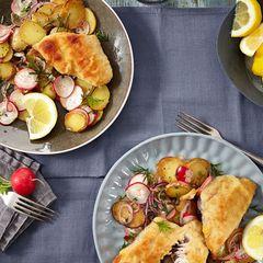 Meeräschenschnitzel mit Bratkartoffelsalat