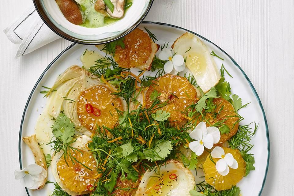 Dill-Orangen-Salat mit Fenchel und Koriander Rezept