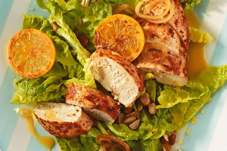 Zitronenhähnchen mit Salat Rezept