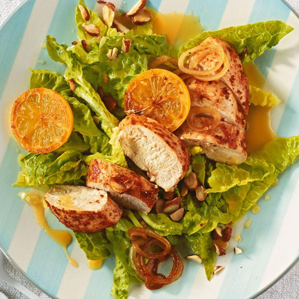 Zitronenhähnchen mit Salat