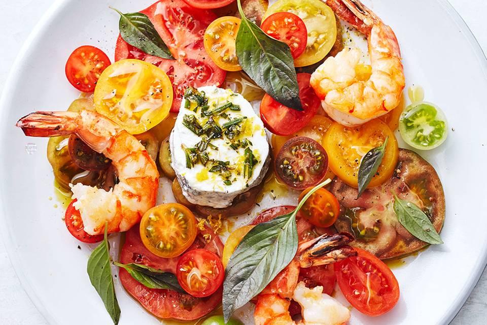 Tomatensalat mit Garnelen  Rezept