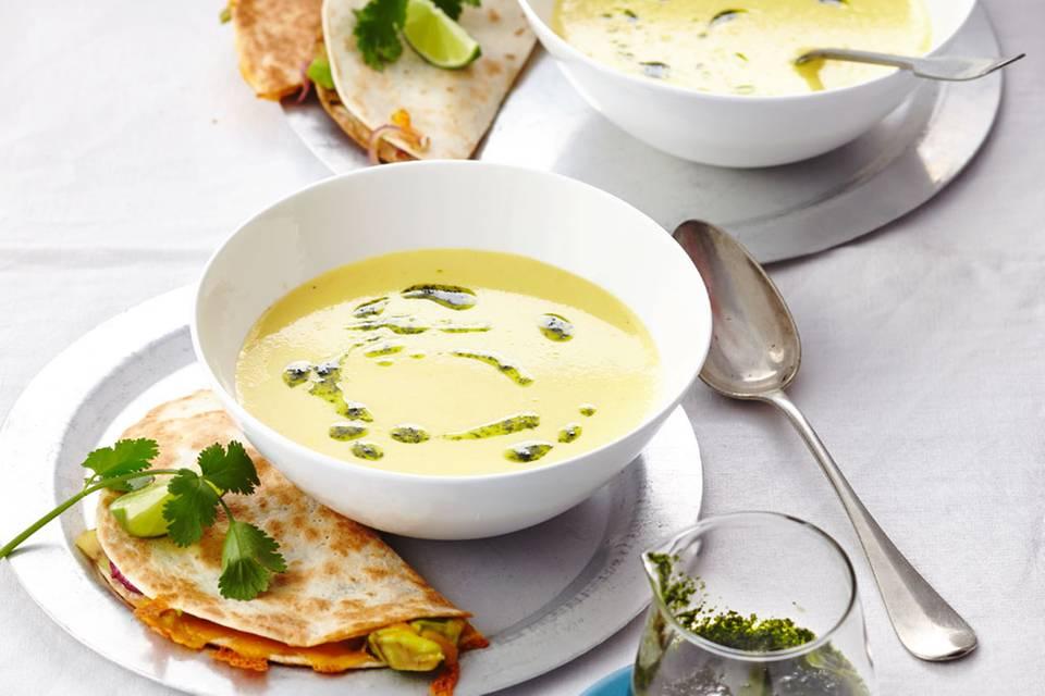 Maissuppe mit Avocado-Quesadillas Rezept