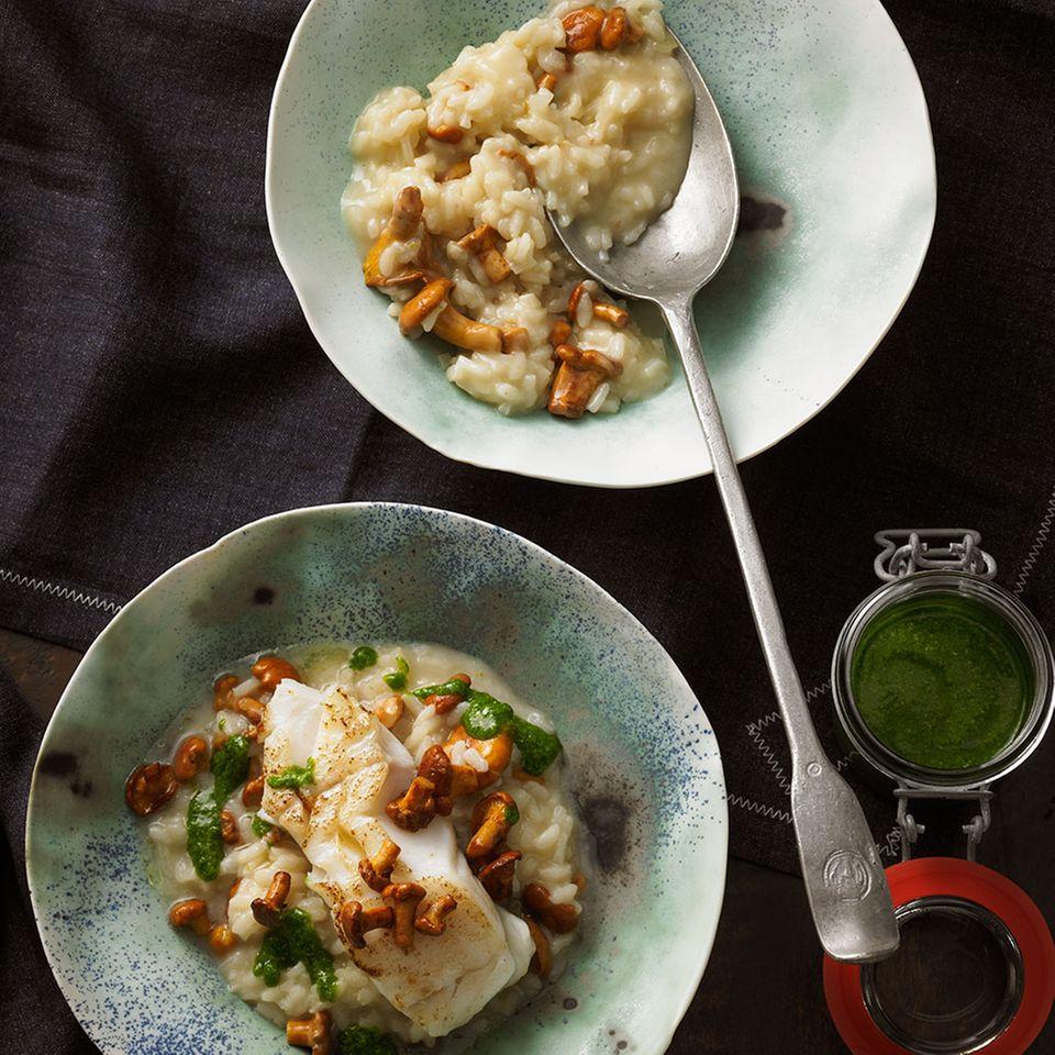 Pfifferlings-Risotto mit Senf-Pesto und Kabeljau