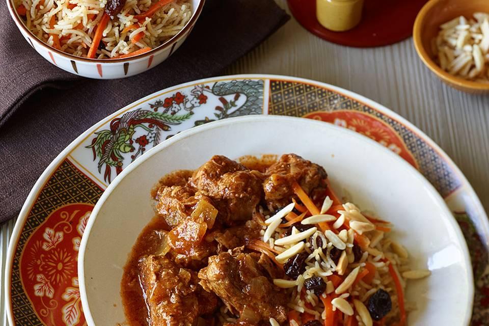 Kabuli mit Spinat (Reis mit Lamm und Möhren) Rezept