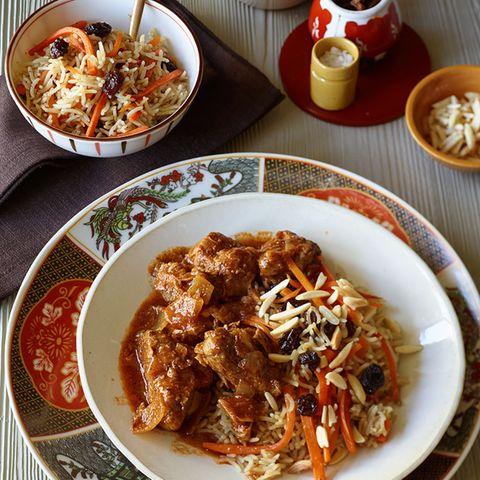 Kabuli mit Spinat (Reis mit Lamm und Möhren)