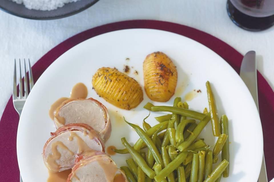 Schweinefilet mit Fächerkartoffeln Rezept