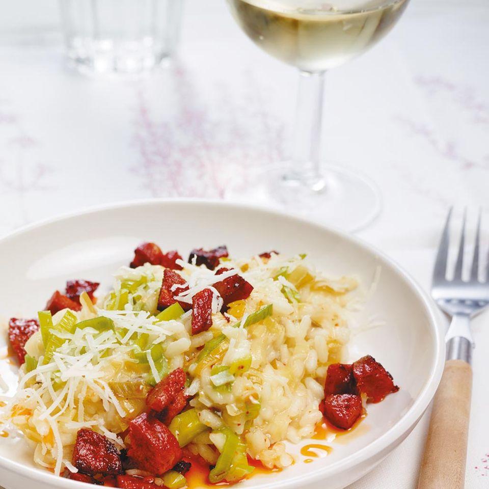 Lauch-Risotto mit Chorizo