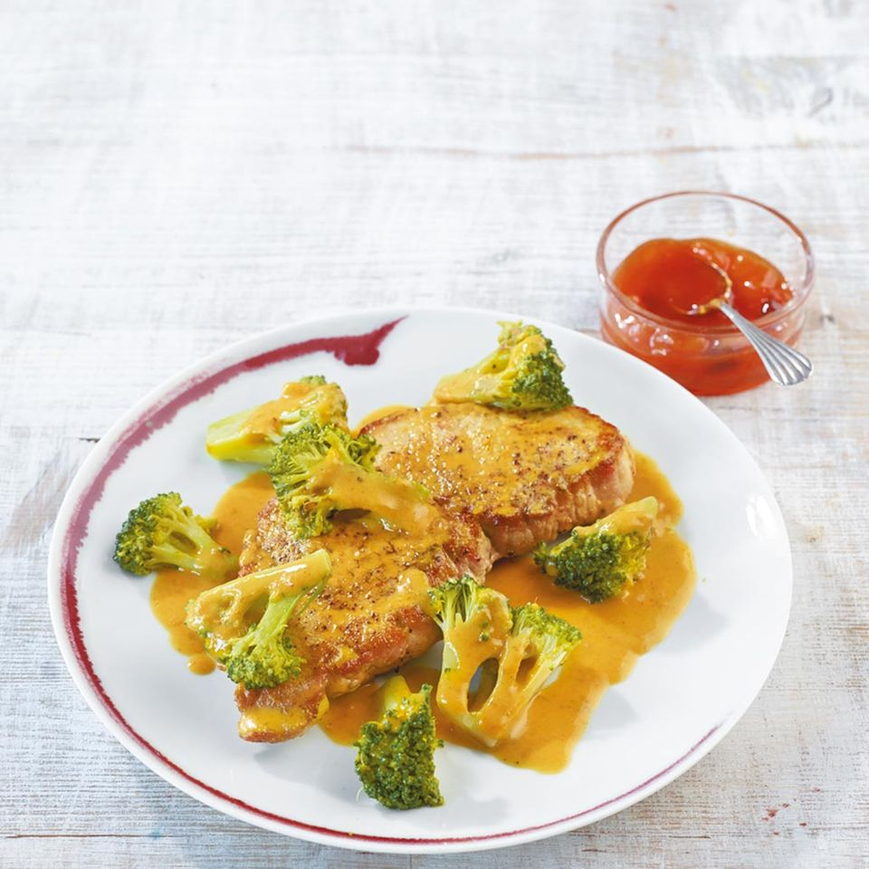 Curryschnitzel mit Broccoli