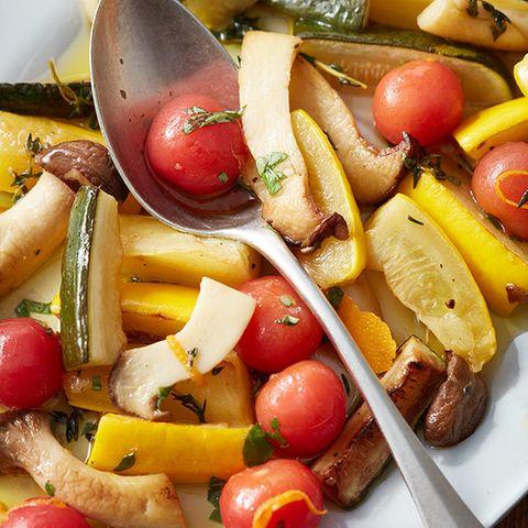Süsssaure Zucchini und Kräuterseitlinge