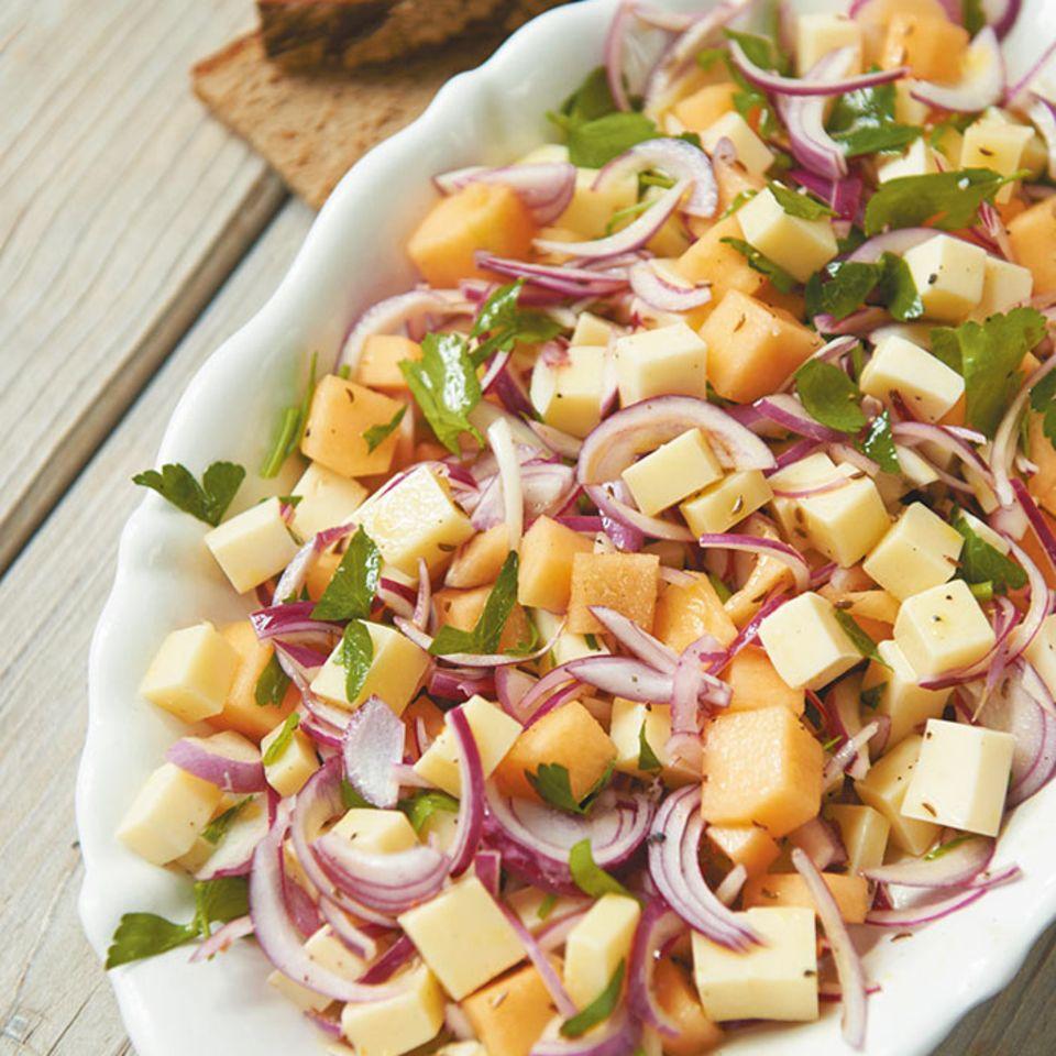 Käse-Melonen-Salat