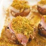 Champignons mit Frischkäsefüllung und Schinken