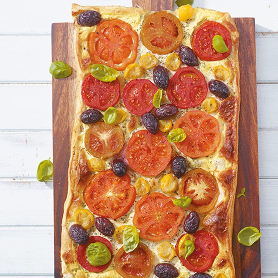 Tomaten-Quiche mit Oliven