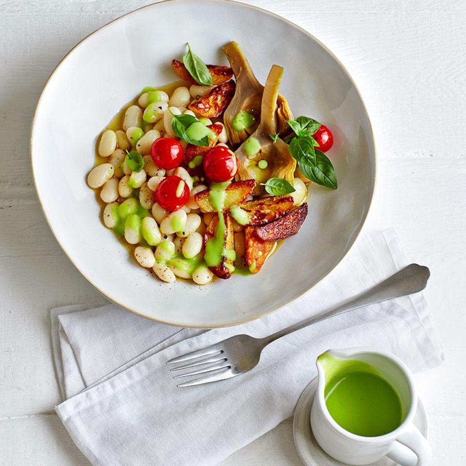 Palbohnen-Gemüse mit Artischocken