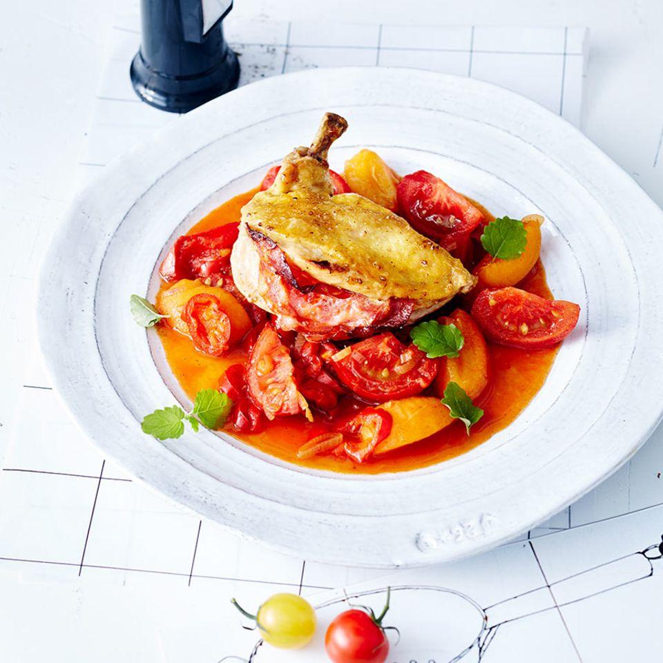 Tomaten-Aprikosen-Gemüse mit Chorizo-Hähnchenbrust