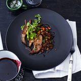 Lammleber mit Linsen und Rotweinsauce