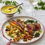 Thunfisch mit Gemüse und Granatapfel