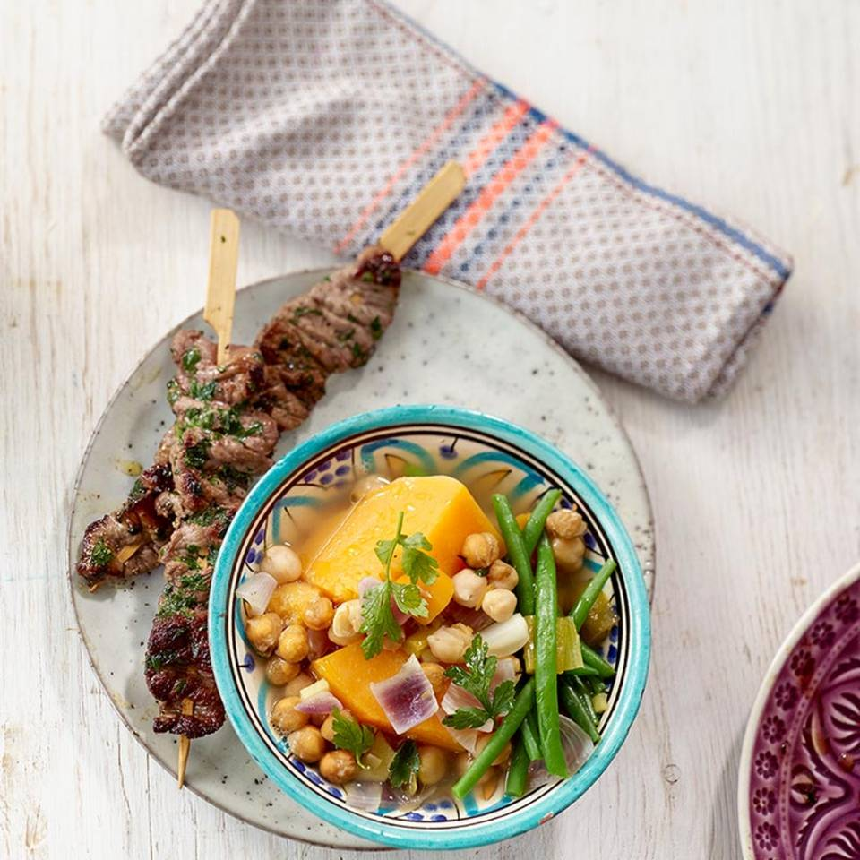 Kichererbseneintopf mit Kebab  Rezept