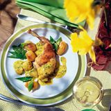Kaninchen mit Kräuter-Senfsauce