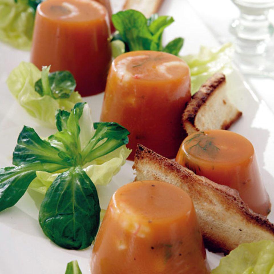 Bouillabaisse-Gelee mit Salat und Senfsauce