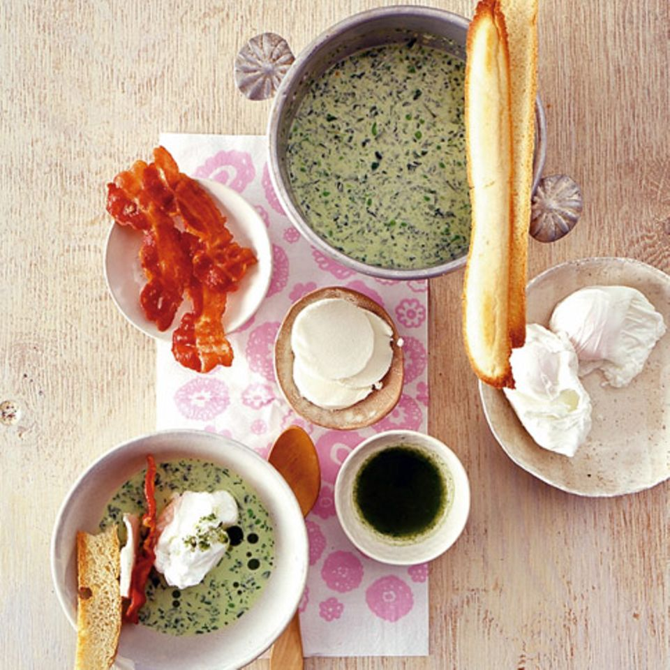 Erbsen-Rauke-Suppe