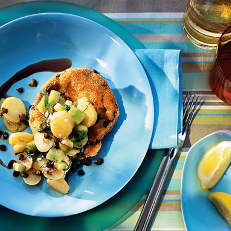 Portobello-Schnitzel mit Kartoffel-Gurken-Salat Rezept