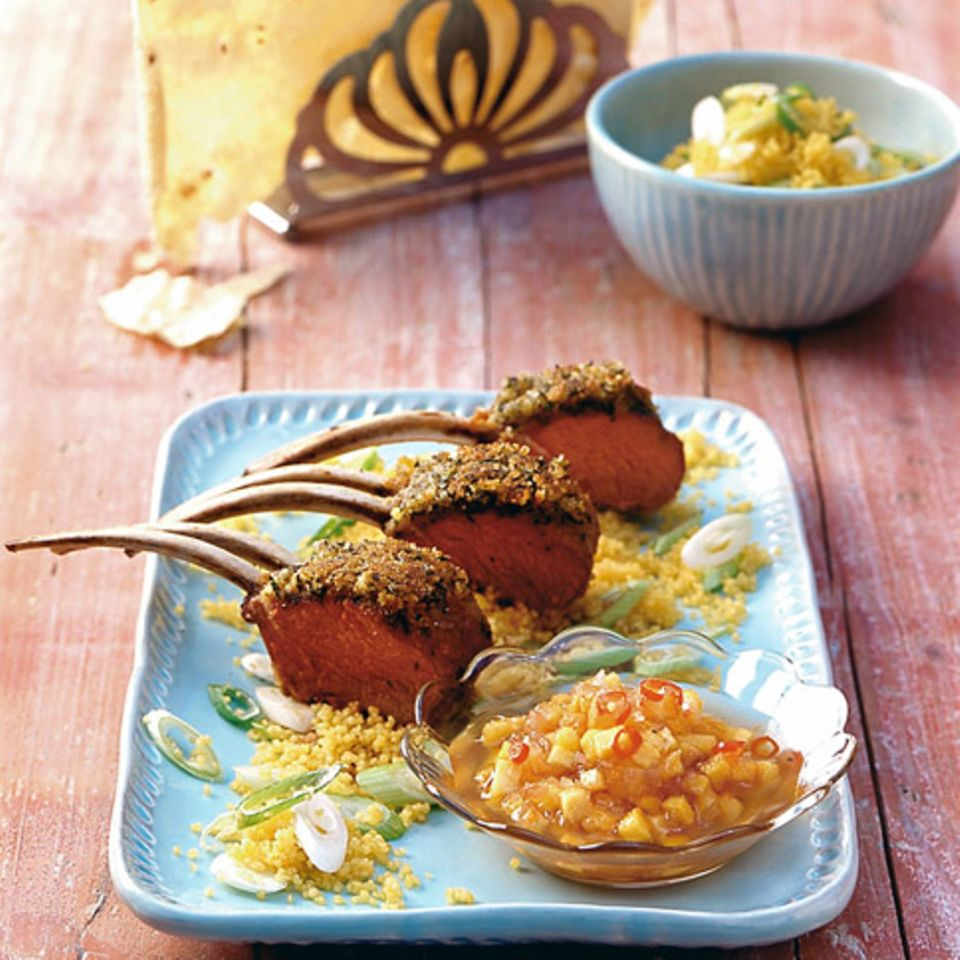 Lammcarré mit Pfirsich-Chutney
