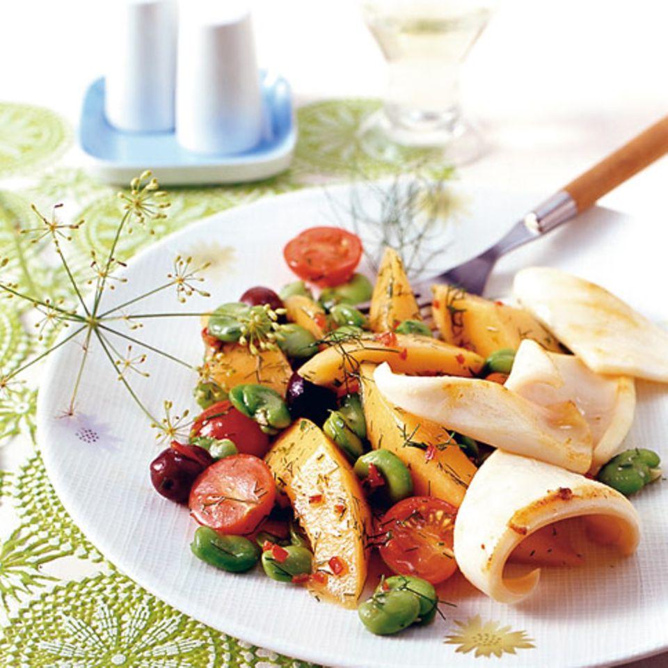 Tomaten-Melonen-Salat mit Calamari