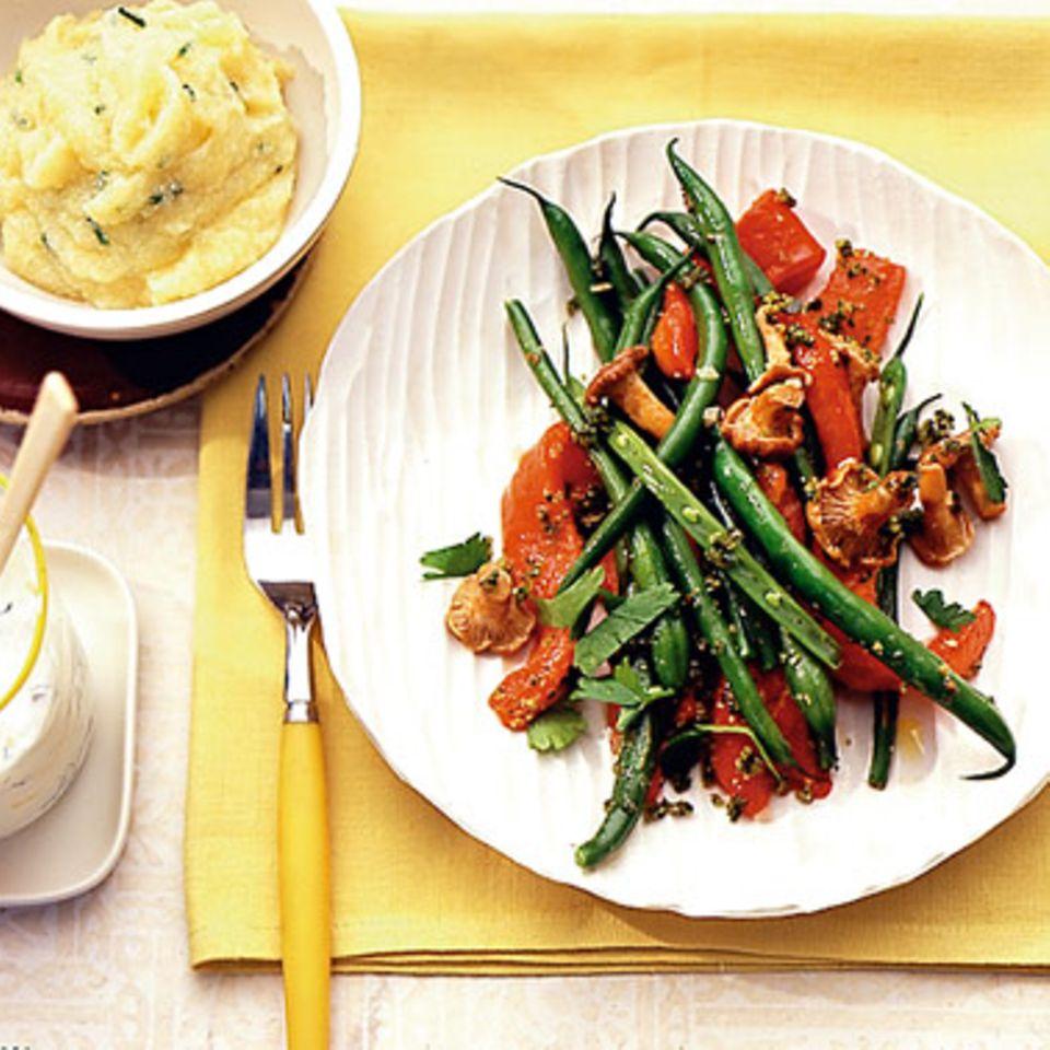 Bohnen-Pfifferling-Gemüse