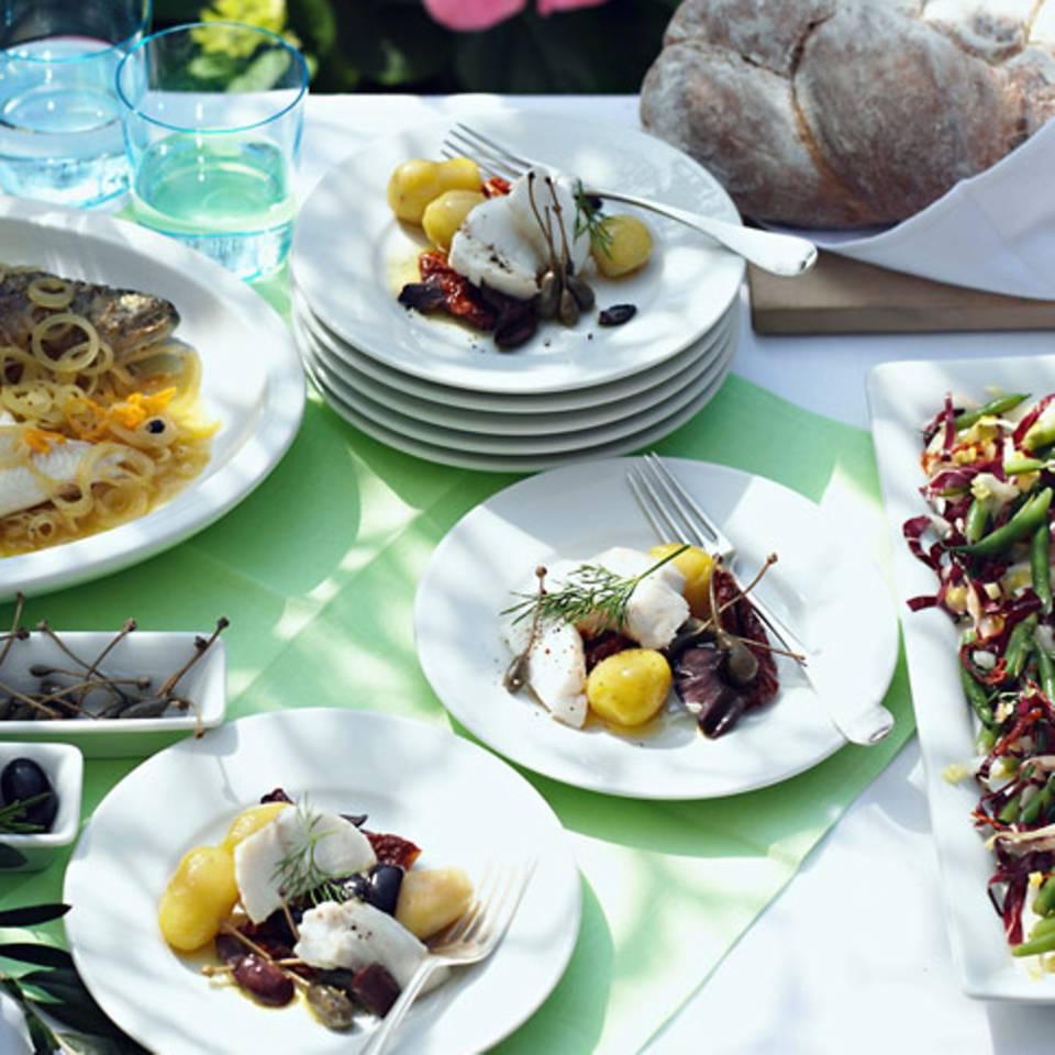 Seeteufel mit Oliven und Kapernäpfeln Rezept