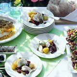 Seeteufel mit Oliven und Kapernäpfeln