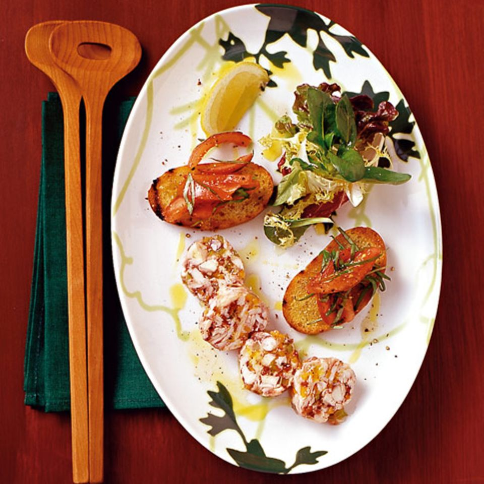 Pulposülze mit Tomaten-Crostini