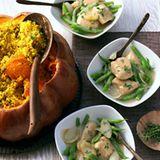 Geflügelragout mit Bohnen und Senfsauce