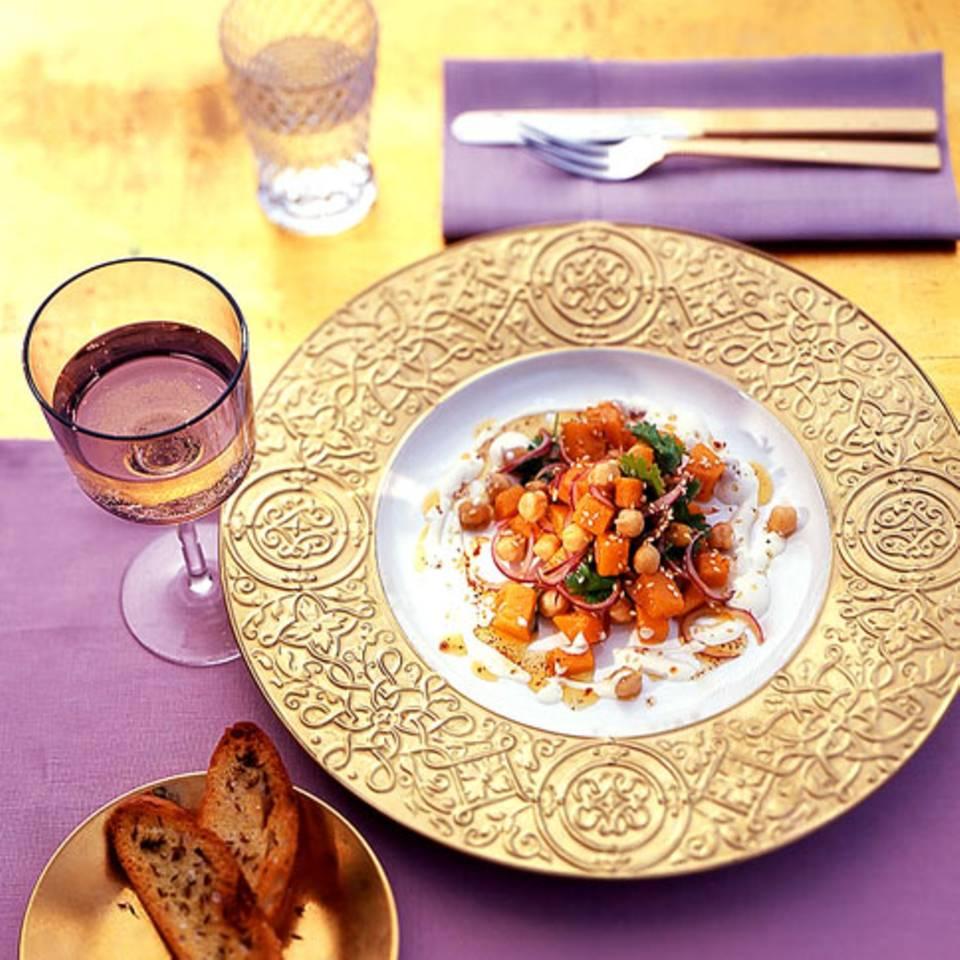 Kürbis-Kichererbsen-Salat Rezept