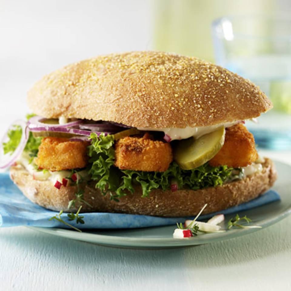 Fischstäbchen-Burger Rezept