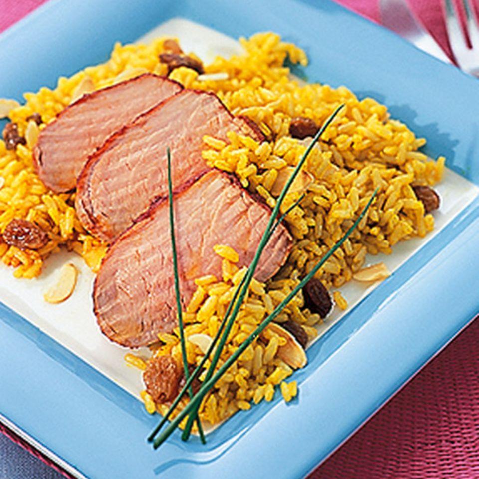 Schweinefilet mit Curryreis